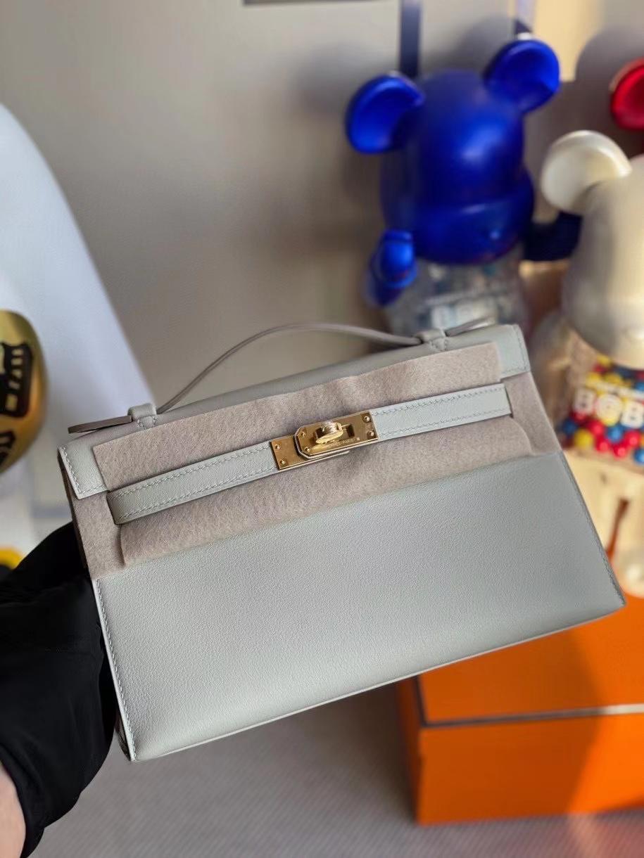 Hermès(爱马仕)Mini kelly pochette 22cm Swift 珍珠灰 金扣 顶级手缝 定制
