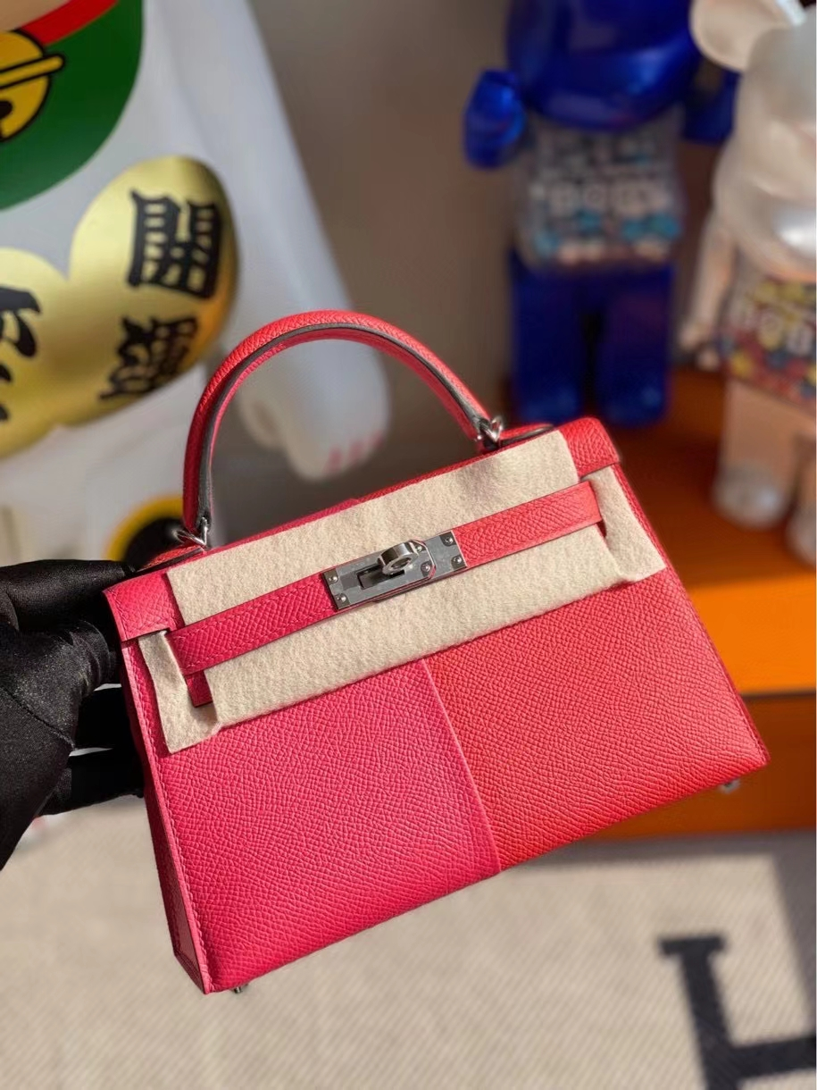 Hermès(爱马仕)Mini kelly ll Epsom 原厂掌纹皮 极致粉心红色 内拼 坦桑尼亚蓝 银扣 顶级手缝 现货