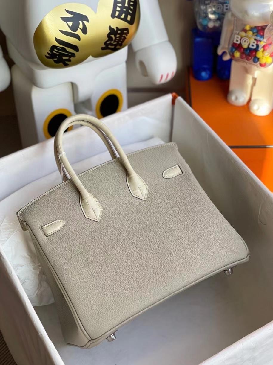 Hermès(爱马仕)Birkin 25cm Touch 系列!ck80 珍珠灰 拼雾面方块奶油白 银扣 顶级手缝