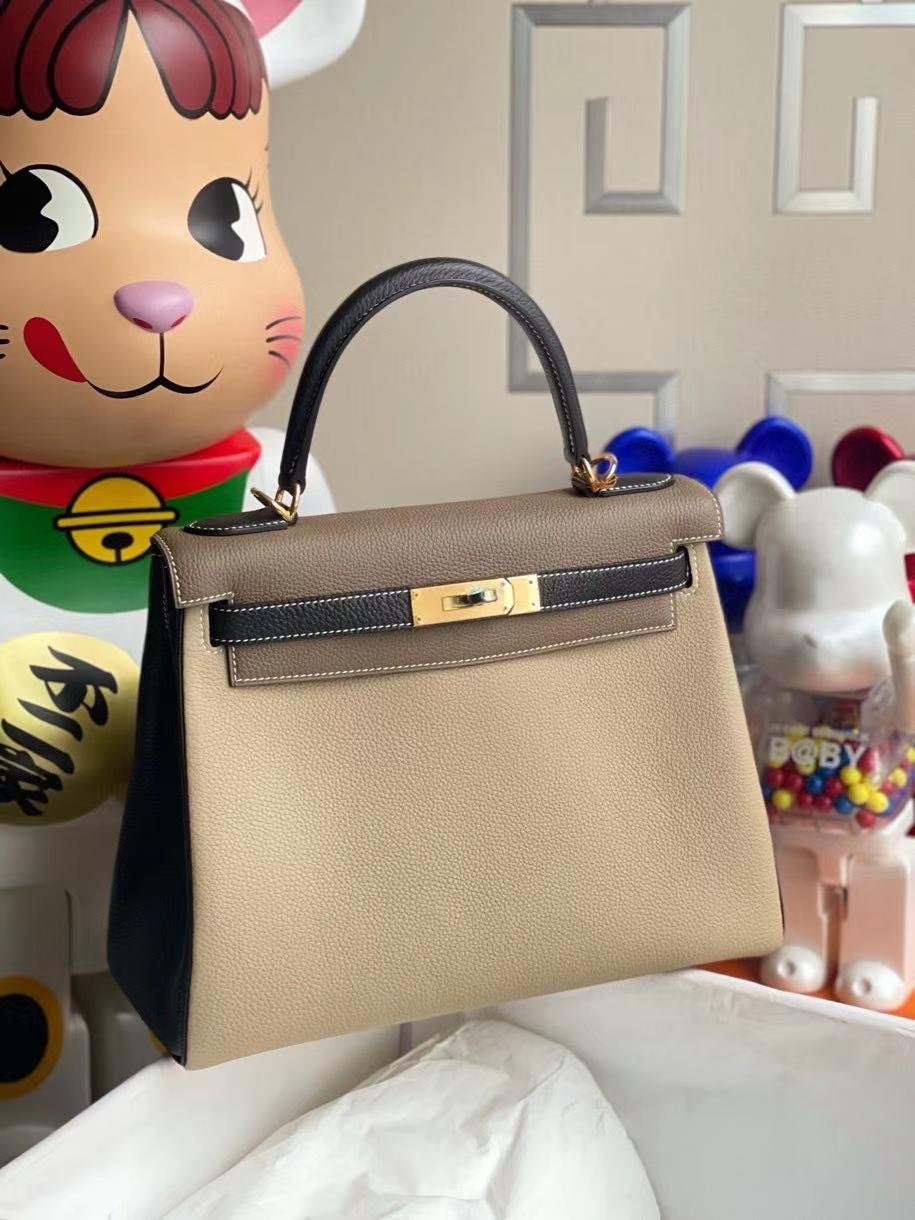 Hermès(爱马仕)Kelly 28cm 原厂小牛皮 togo ck81 斑鸠灰黑色大象灰  白色线 金扣 马蹄印 顶级手缝