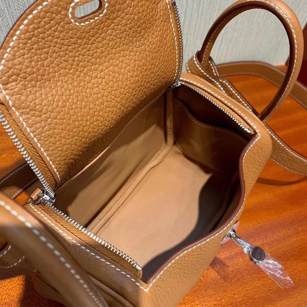Hermès(爱马仕)Mini Lindy 19cm Clemence Ck37金棕色 顶级工艺 全手工缝制 银扣 现货