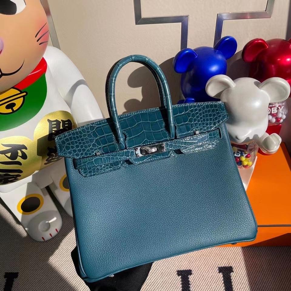 Hermès(爱马仕)Birkin 25cm Touch 系列 w0博斯普鲁斯绿 鳄鱼 银扣 顶级手缝 定制