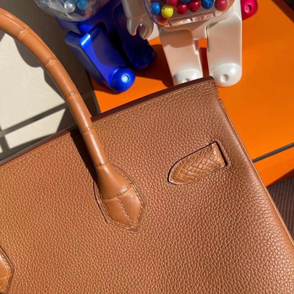 Hermès(爱马仕)Birkin 30cm Touch 系列 金棕色 雾面方块棕色鳄鱼 银扣 顶级手缝 定制