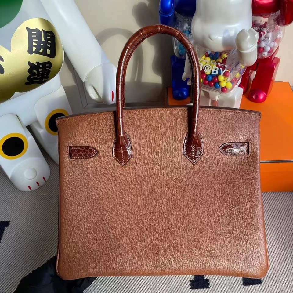 Hermès(爱马仕)Birkin 30cm 山羊皮 Chevre 蜜糖棕拼亮面鳄鱼 蜜糖棕 银扣 顶级手缝 定制