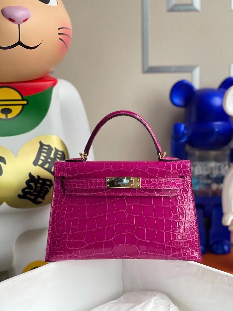 Hermès(爱马仕)Mini kelly ll Alligator shiny 亮面鳄鱼 J5 天方夜谭粉紫 金扣 顶级手缝 现货
