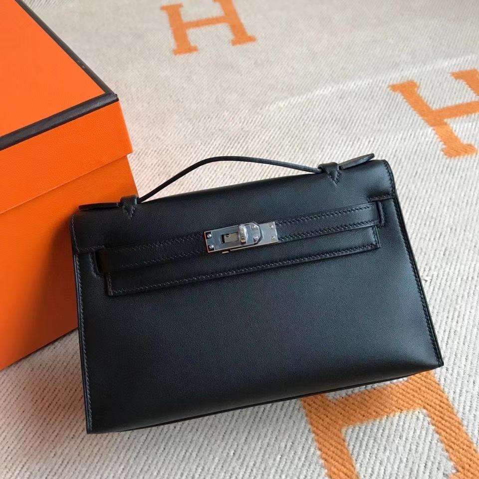Hermès(爱马仕)Mini Kelly pochette 22cm Swift ck89 黑色 Noir 金扣 银扣 手拿包 晚宴包 顶级手缝 现货
