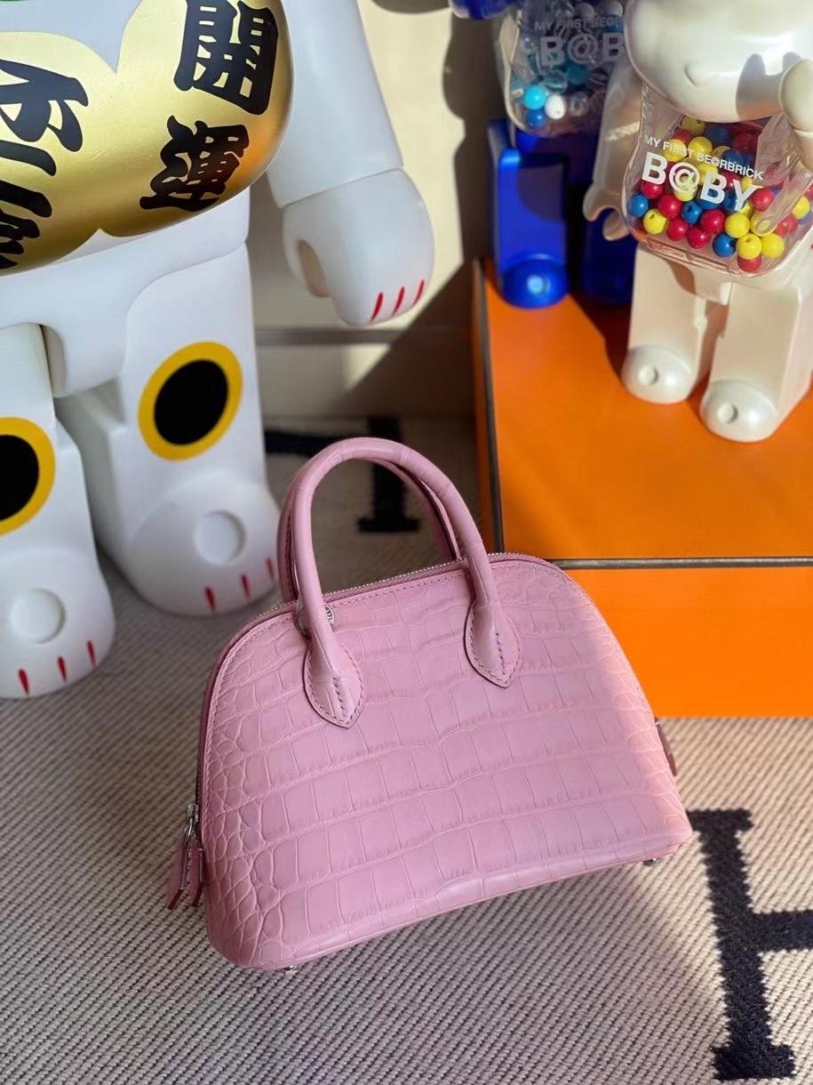 Hermès(爱马仕)Mini Bolide Alligator matt 雾面鳄鱼 5p 樱花粉 银扣 顶级手缝 现货