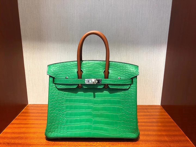 Hermès(爱马仕)Birkin 25cm Alligator matt 竹子绿拼马鞍皮棕色手腕 银扣 顶级手缝