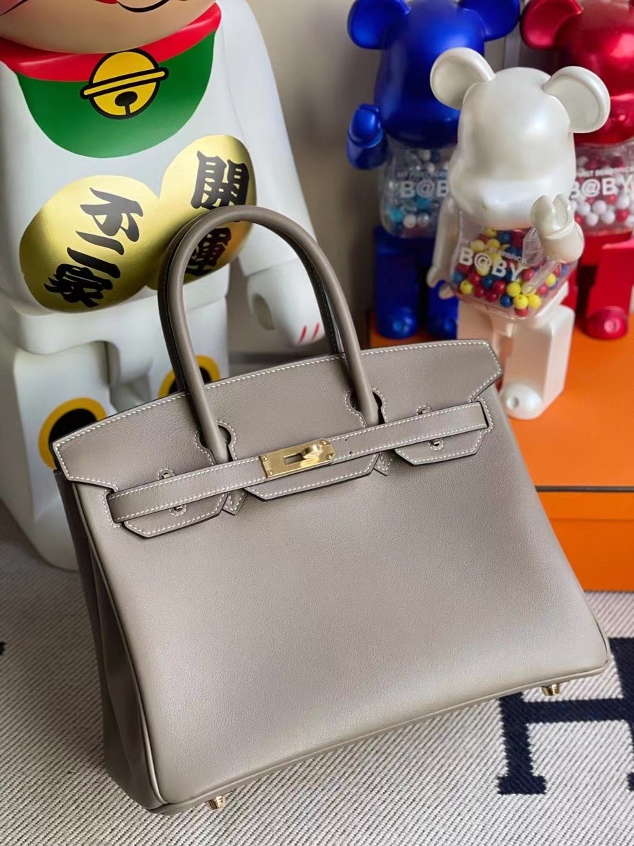 Hermès(爱马仕)Birkin 30cm Swift  M8 沥青灰 gris Ashpite 金扣 顶级手缝 现货
