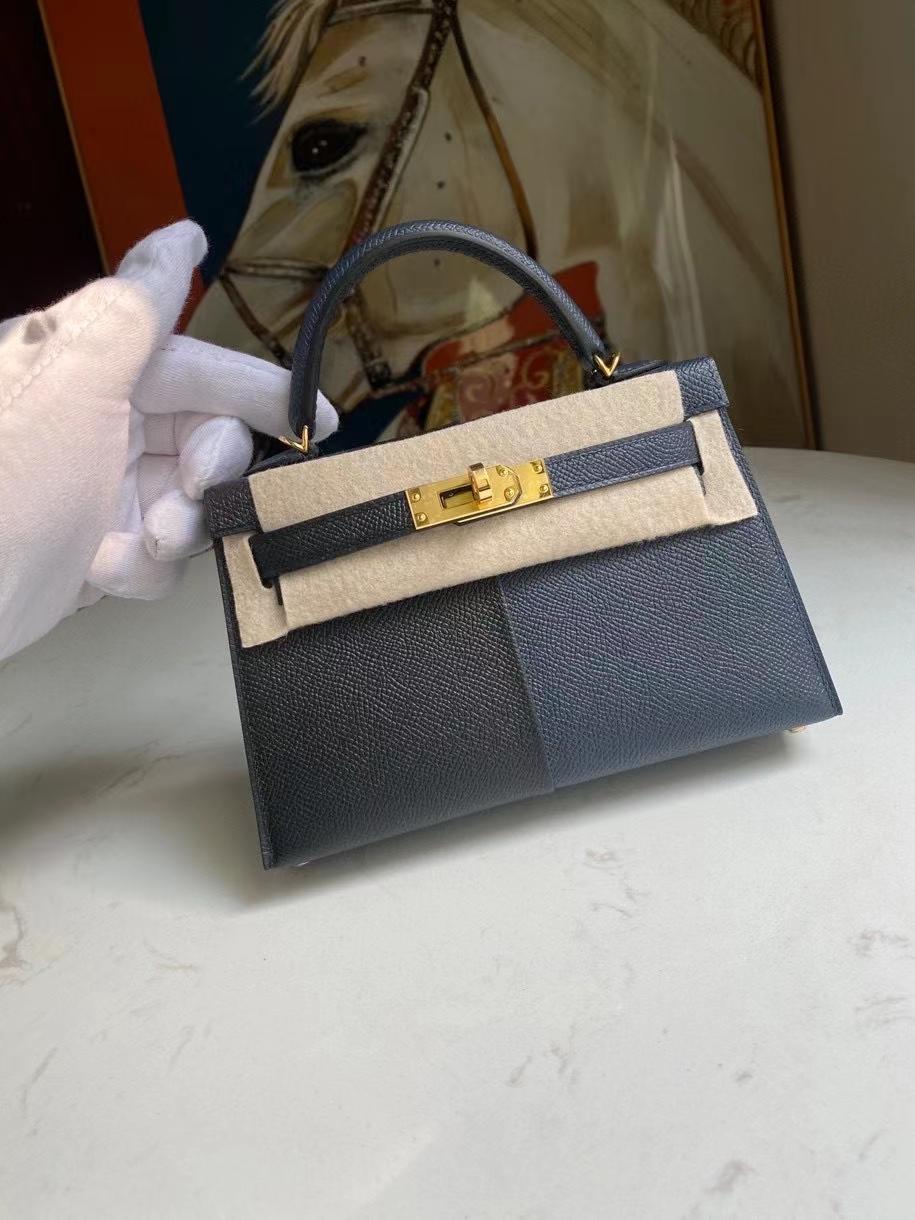 Hermès(爱马仕)Mini kelly ll Epsom 原厂掌纹皮 ck89 黑色午夜蓝 拼 B3坦桑尼亚蓝 金扣 顶级手缝 现货