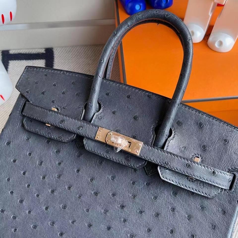 Hermès(爱马仕)Birkin 25cm Ostrich kk鸵鸟 午夜蓝 玫瑰金扣 rose gold