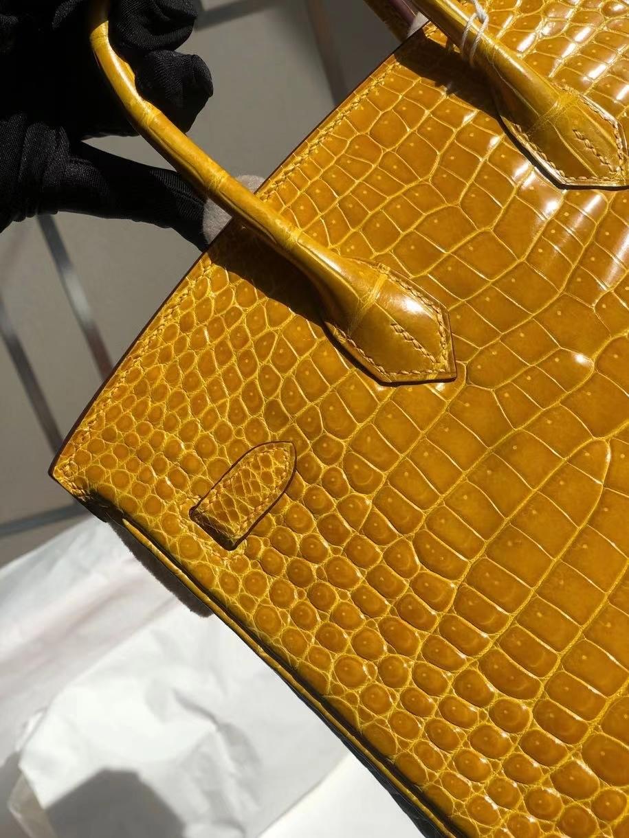 Hermès(爱马仕)Birkin 25cm Porosus shiny 亮面澳洲鳄鱼 9D 琥珀黄 Ambre 金扣 顶级手缝 现货