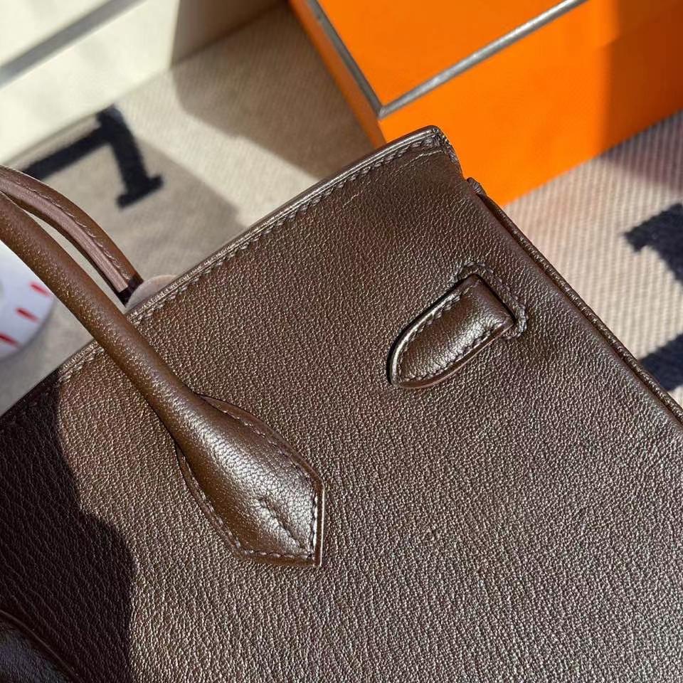 Hermès(爱马仕)Birkin 25cm chevre 山羊皮 乌木色内拼橙色 拉丝银扣 定制