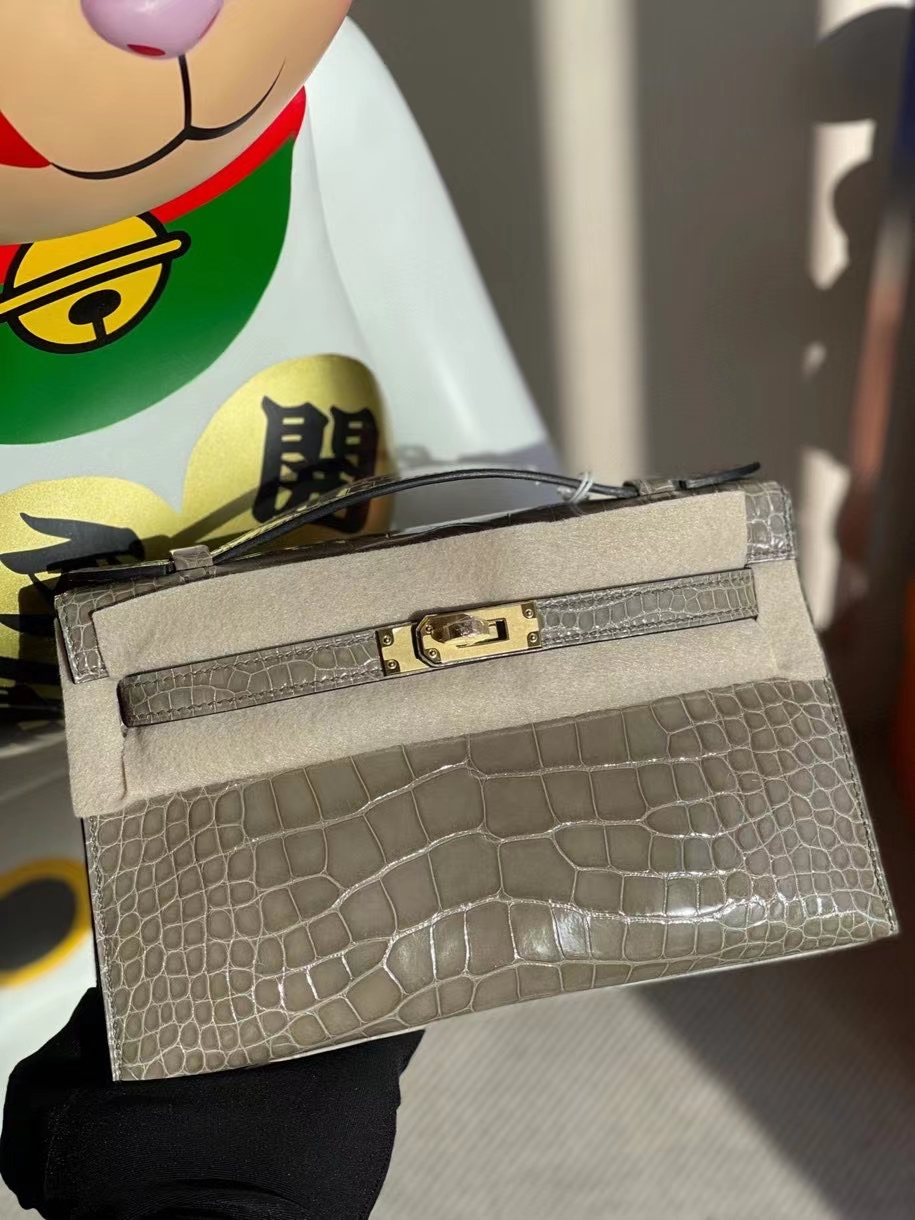 Hermès(爱马仕)Mini kelly pochette 22cm Alligator shiny 亮面鳄鱼 ck81 斑鸠灰 金扣 顶级手缝 晚宴包