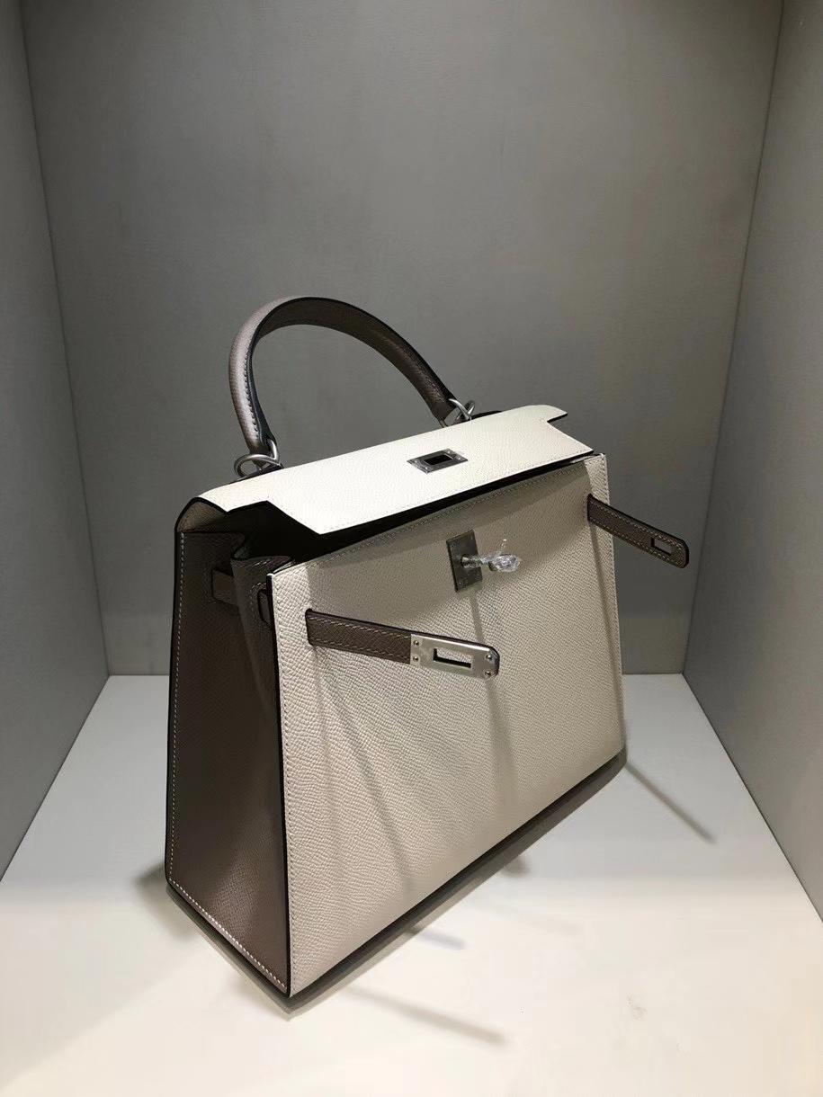 Hermès(爱马仕)Kelly 25cm Epsom 原厂掌纹皮 ck10 奶昔白Craie  M8 沥青灰 gris ashpite 拉丝银扣