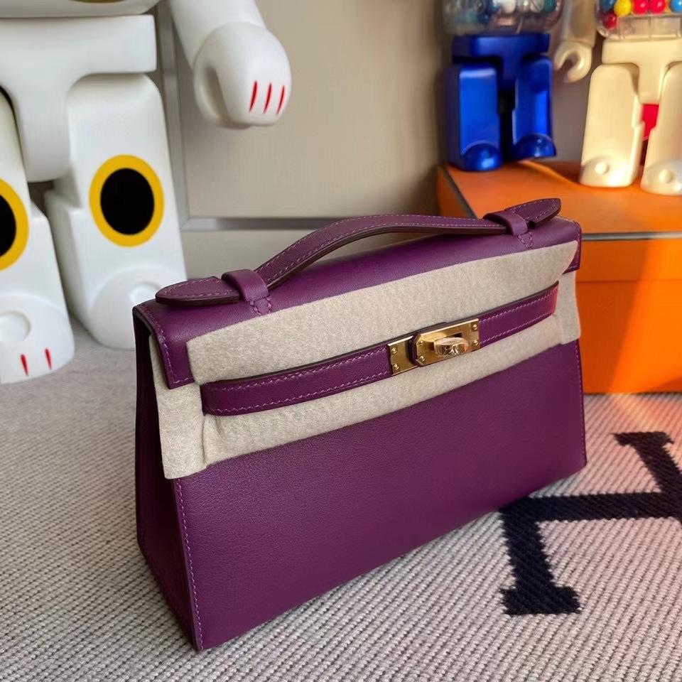 Hermès(爱马仕)Mini kelly pochette 22cm Swift anemone 薰衣草紫 金扣 顶级手缝 定制