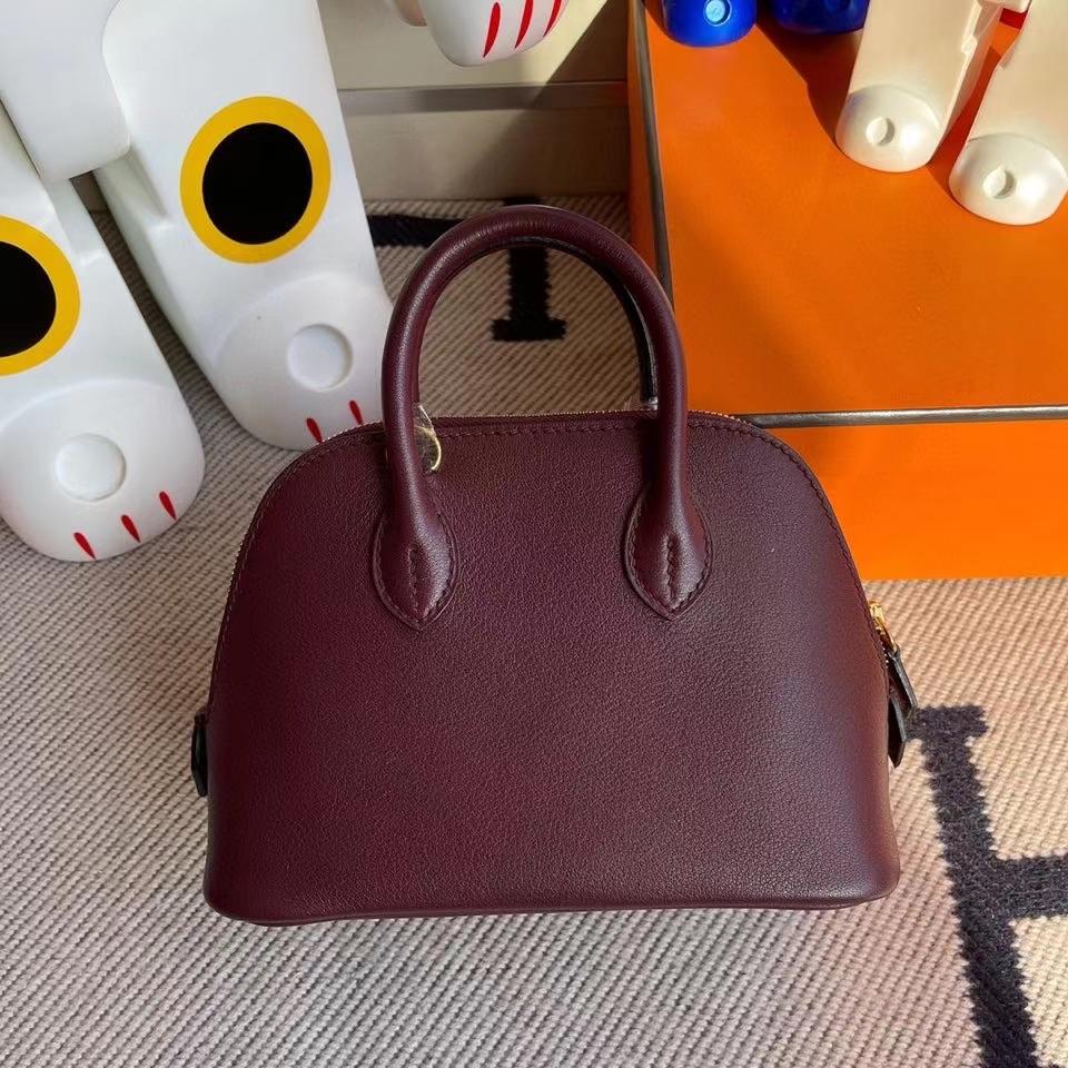 Hermès(爱马仕)Mini Bolide 山羊皮 ck57波尔多酒红 Bordeaux  金扣 顶级手缝 现货