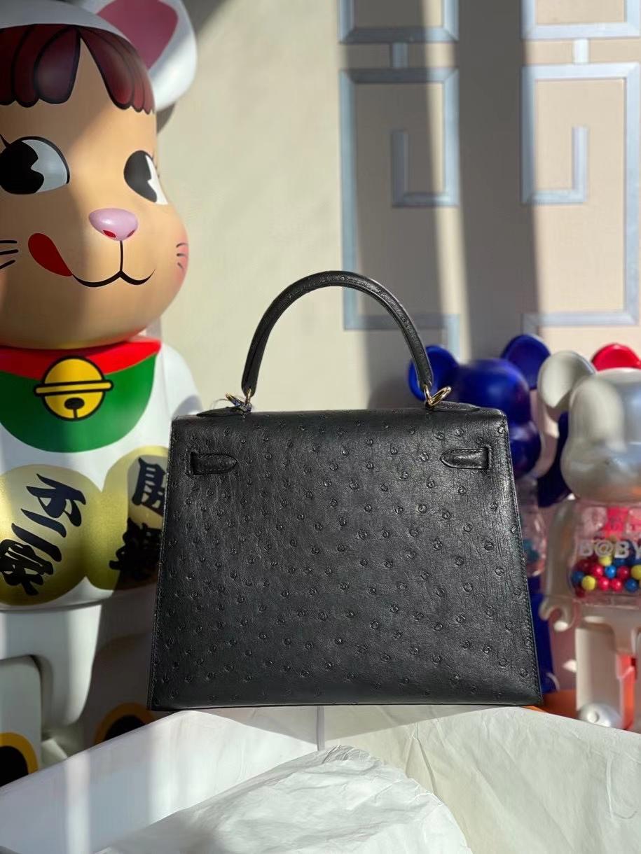 Hermès(爱马仕)Kelly 25cm Ostrich kk鸵鸟 ck89 黑色 Noir 金扣 顶级手缝 定制
