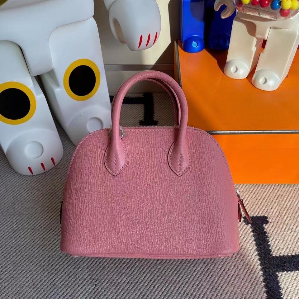Hermès(爱马仕)Mini Bolide 山羊皮 1Q奶昔粉 银扣 顶级手缝 现货