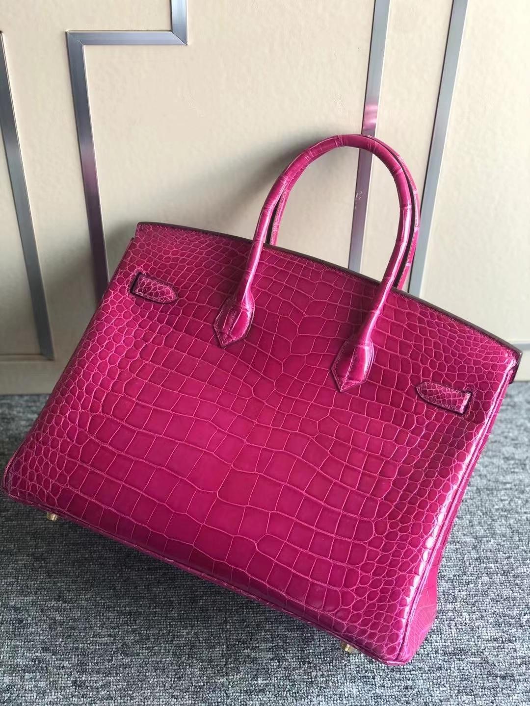 Hermès(爱马仕)Birkin 35cm 亮面倒V澳洲湾鳄 J5天方夜谭粉紫 Rose 顶级工艺 全手工缝制 金扣 现货