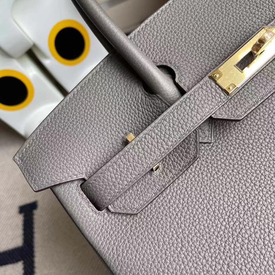 Hermès(爱马仕)Birkin 30cm 原厂小牛皮 8F 锡器灰 Etain 金扣 顶级手缝 现货