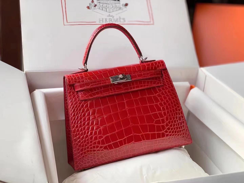 Hermès(爱马仕)Kelly 25cm 95法拉利红 亮面美洲鳄 頂級工艺