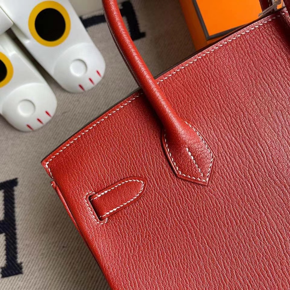Hermès(爱马仕)Birkin 30cm 山羊皮 Chevre 三文鱼红 金扣 顶级手缝