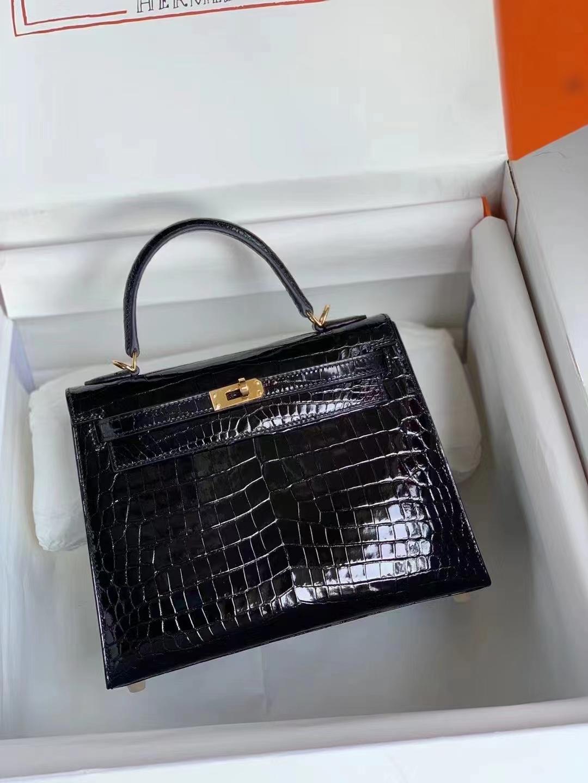Hermès(爱马仕)Kelly 25cm #89经典黑金 尼罗鳄 顶级工艺
