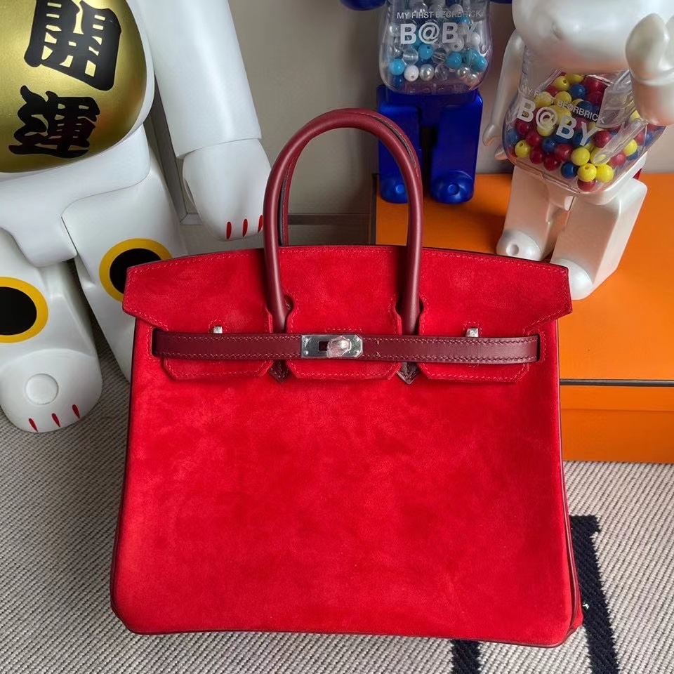 Hermès(爱马仕)Birkin 25cm 麂皮 心红色 拼Box calf 爱马仕红 银扣