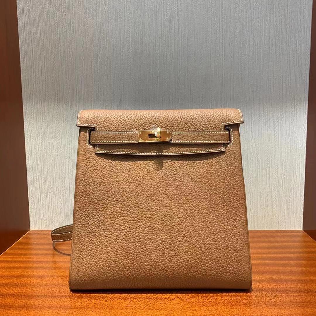 Hermès(爱马仕)Kelly ado 22cm Clemence Ck37金棕色 顶级工艺 全手工缝制 金扣 现货