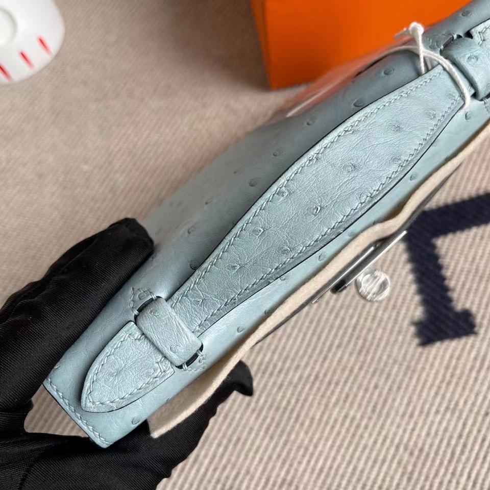 Hermès(爱马仕)Mini kelly pochette 22cm Ostrich kk鸵鸟 8U 冰川蓝 银扣 顶级手缝 手拿包 晚宴包