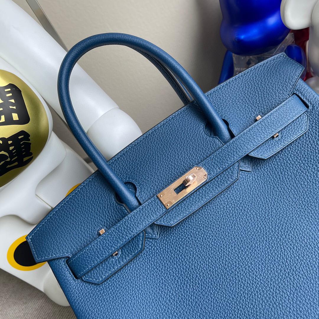 Hermès(爱马仕)Birkin 铂金包 原厂小牛皮 togo 深邃蓝 deep blue 玫瑰金 30cm