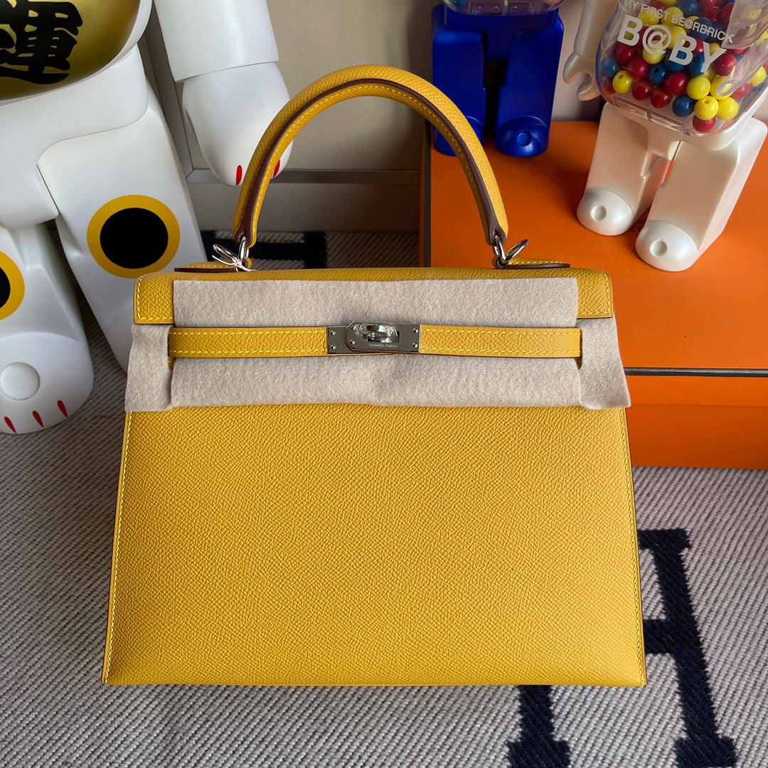 Hermès(爱马仕)Kelly 凯莉包 原厂掌纹皮 Epsom 9D 琥珀黄 Ambre 银扣 25cm 顶级手缝 现货