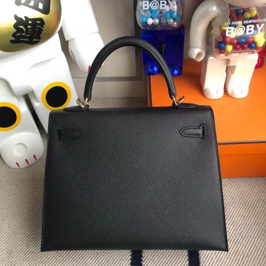 Hermès(爱马仕)Kelly 凯莉包 Epsom 原厂掌纹皮 ck89 黑色 Noir 金扣 25cm