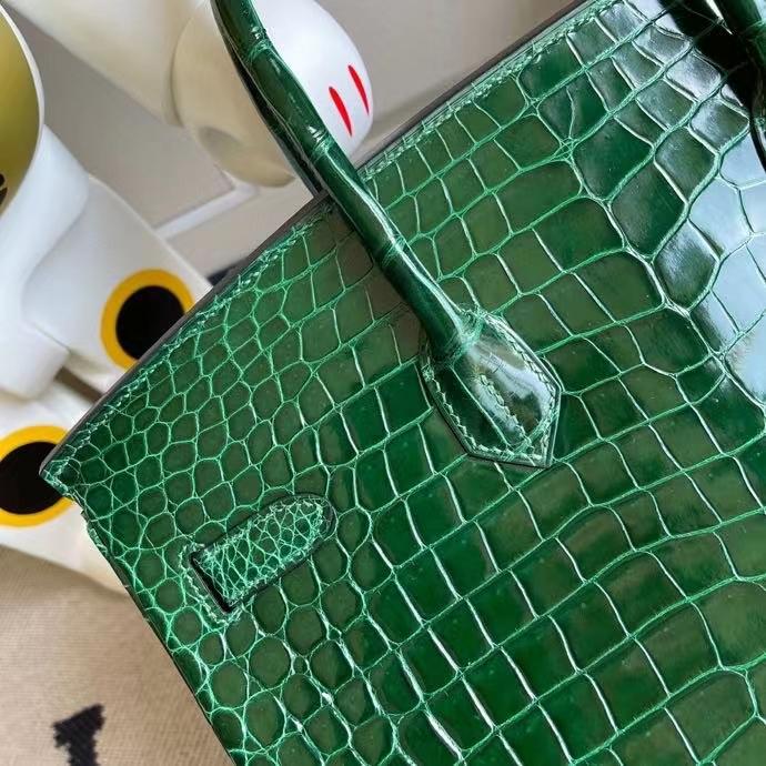Hermès(爱马仕)Birkin 铂金包 Porosus shiny 亮面澳洲湾鳄 ck67 祖母绿 金扣 35cm 顶级手缝 定制