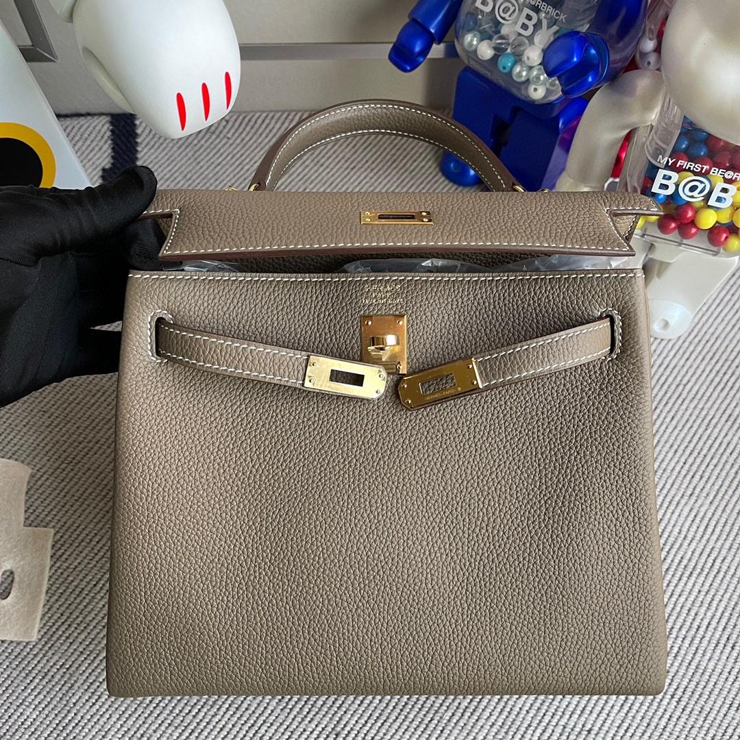 Hermès(爱马仕)Kelly 凯莉包 原厂小牛皮 togo ck18 大象灰 Etoupe 金扣 25cm 顶级手缝 现货
