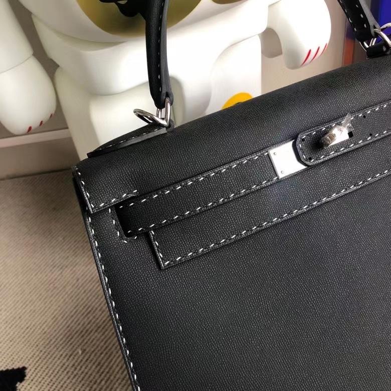 Hermès(爱马仕)Kelly 凯莉包 GM皮 黑色 银扣 28cm 顶级手缝 现货