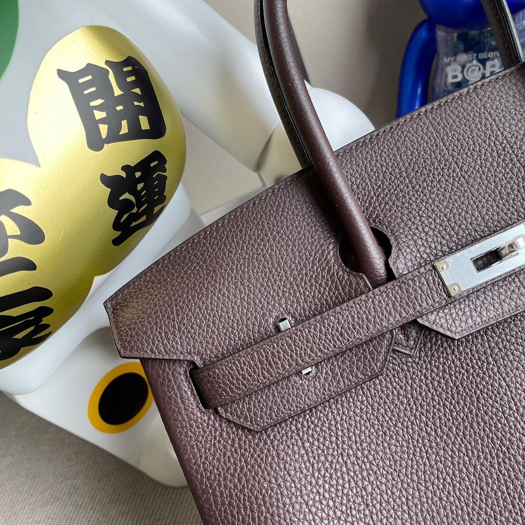 Hermès(爱马仕)Birkin 铂金包 原厂小牛皮 乌木色 银扣 35cm 顶级手缝 定制
