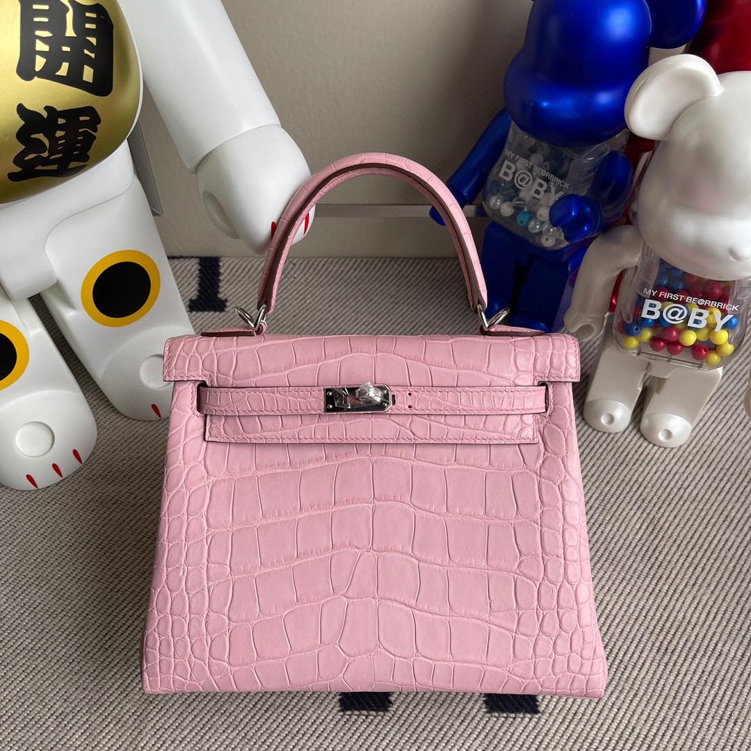 Hermès(爱马仕)Kelly 凯莉包 Alligator matt 雾面鳄鱼 5p 樱花粉 银扣 25cm 顶级手缝 超美