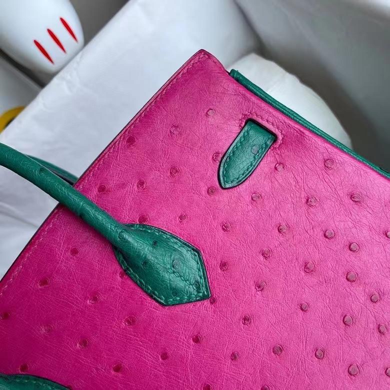 Hermès(爱马仕)Birkin 铂金包 Ostrich kk鸵鸟 天方夜谭粉拼紫丝绒绿 金扣 马蹄印 25cm 定制
