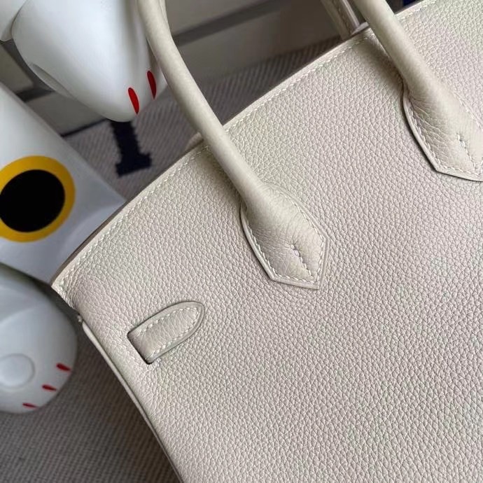 Hermès(爱马仕)Birkin 铂金包 原厂小牛皮 ck10奶昔白 craie 金扣 25 cm顶级手缝 现货