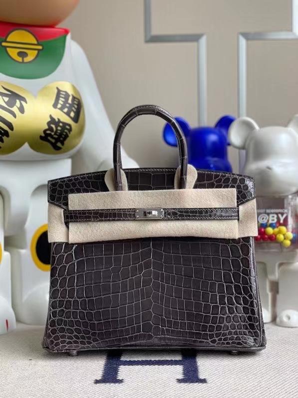 Hermès(爱马仕)Birkin 铂金包 Crocodile shiny 亮面鳄鱼 88 石墨灰 graphite 银扣 25cm