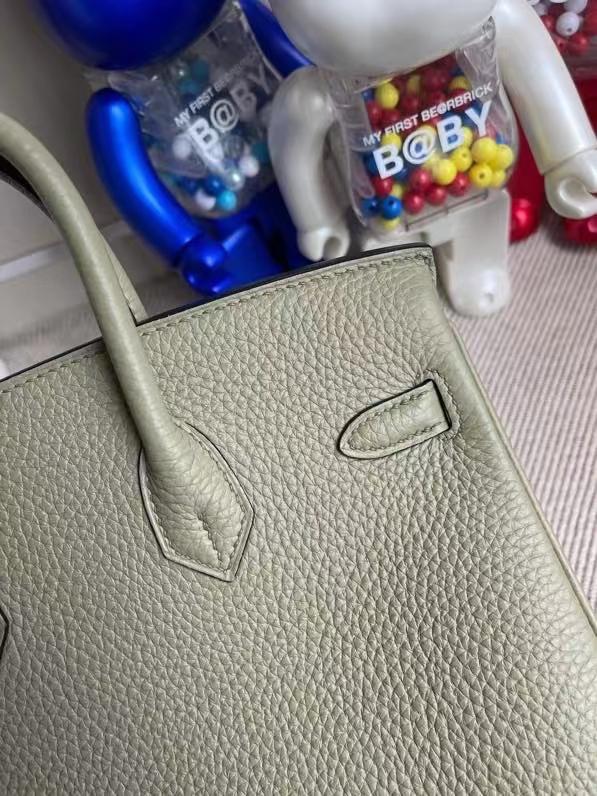 Hermès(爱马仕)Birkin 铂金包 鼠尾绿 原厂小牛皮 银扣 25cm 顶级手缝 定制