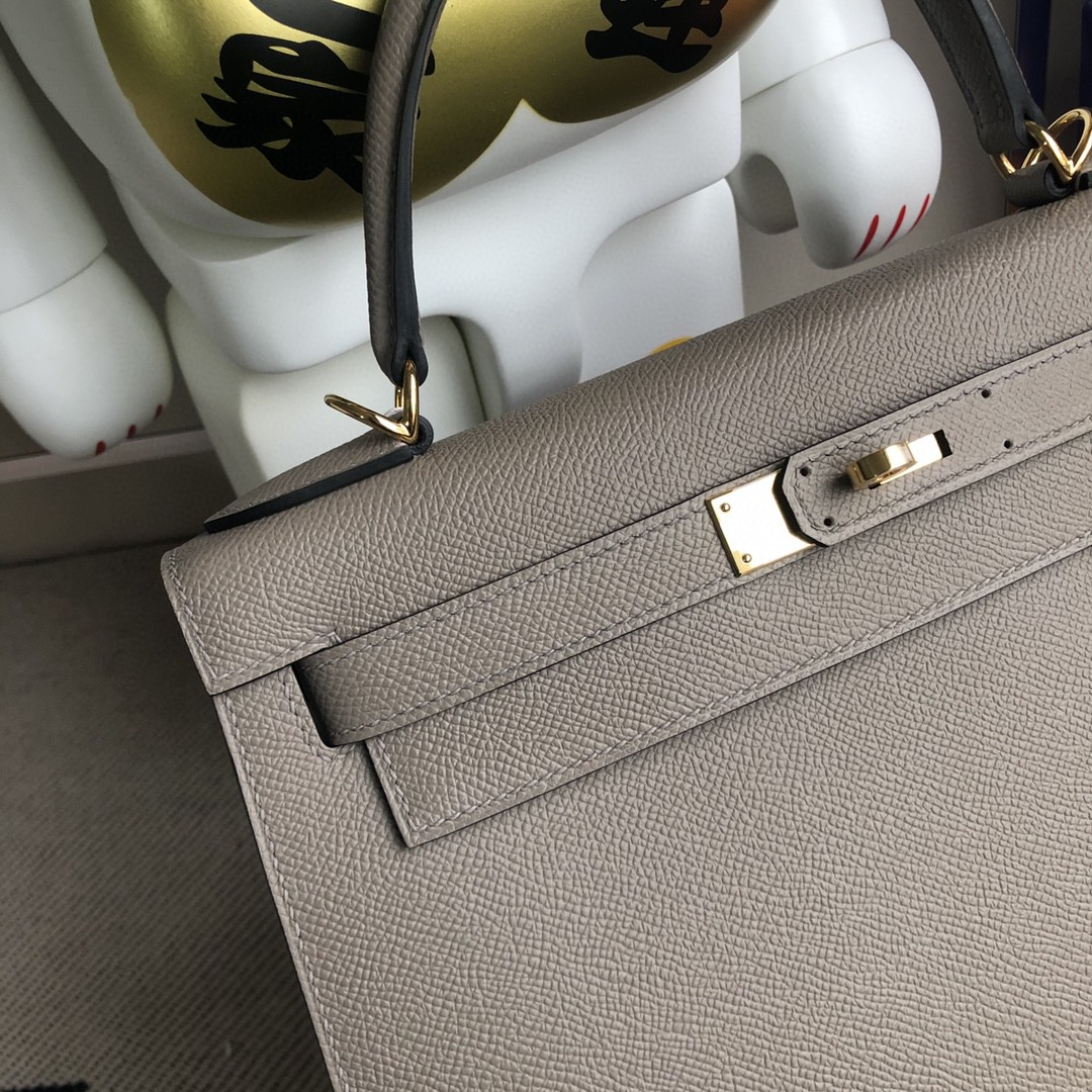 Hermès(爱马仕)Kelly 凯莉包 原厂掌纹皮 Epsom M8 沥青灰 金扣 28cm 顶级手缝 现货