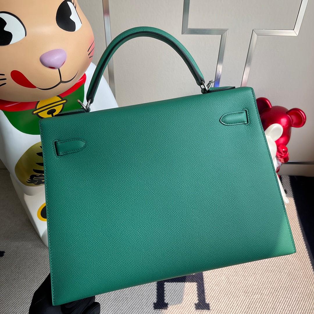 Hermès(爱马仕)Kelly 凯莉包 原厂小牛皮 U4 丝绒绿 银扣 32cm 现货