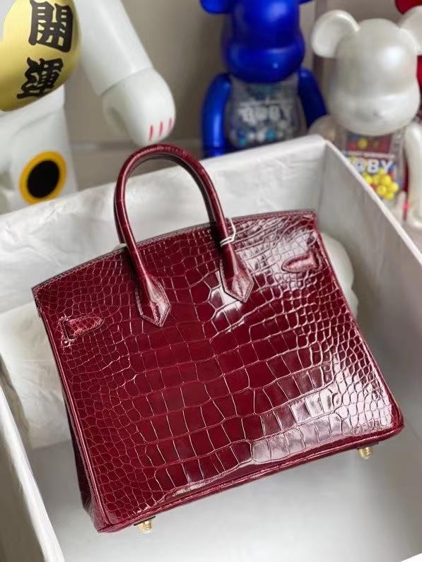 Hermès(爱马仕)Birkin 铂金包 Alligator shiny 亮面鳄鱼 F5 勃艮第酒红 25cm 金扣 顶级手缝  现货