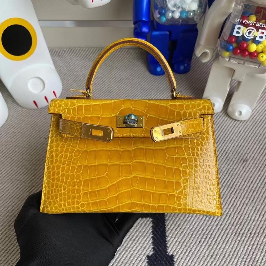 Hermès(爱马仕)Mini kelly ll Alligator shiny 亮面鳄鱼 9D琥珀黄 Ambre 金扣 顶级手缝 现货