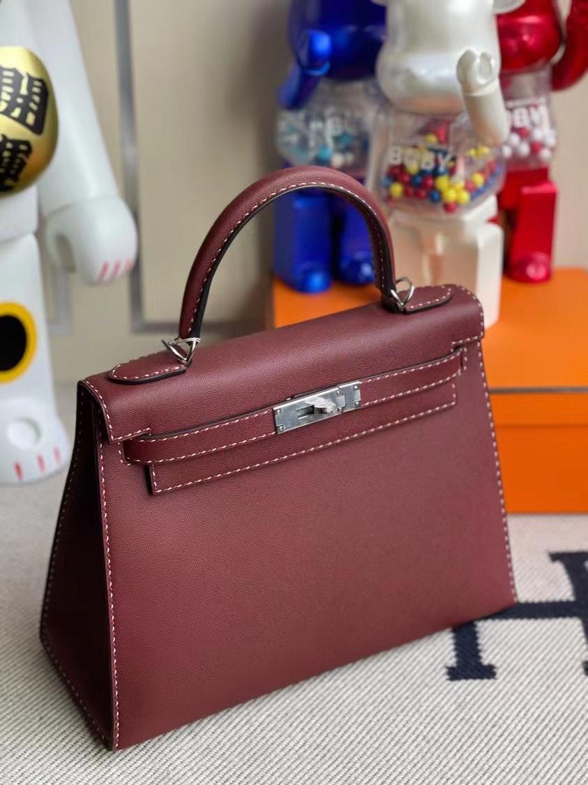 Hermès(爱马仕)Kelly 凯莉包 GM皮 ck55 爱马仕红 银扣 28cm 顶级手缝 现货