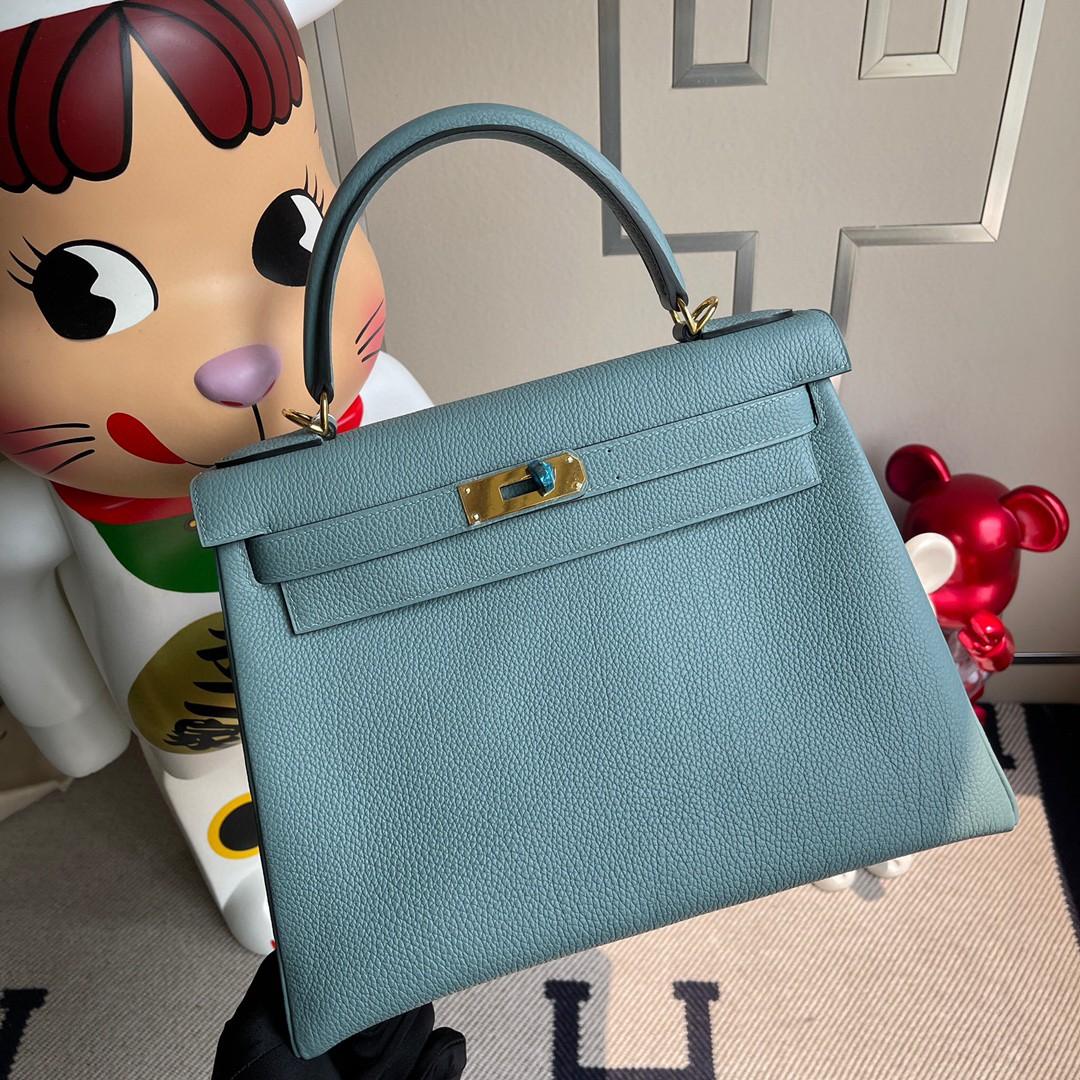 Hermès(爱马仕)Kelly 凯莉包 原厂小牛皮 7G 天青色 金扣 28cm 顶级手缝 现货
