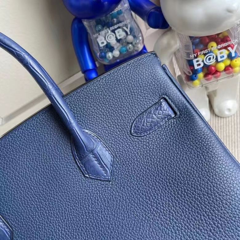 Hermès(爱马仕)Birkin 铂金包 Touch系列 宝石蓝 雾面方块鳄鱼 银扣 30cm 顶级手缝 定制
